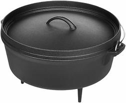 AmazonBasics Pre-Seasoned Cast Iron Camp Dutch Oven - 6-Quar