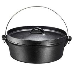 Bruntmor Pre-Seasoned Cast Iron Dutch Oven with Flanged Lid
