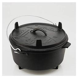 Keleday Pre-seasoned 12 inch cast iron dutch oven with skill
