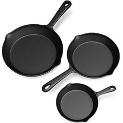 Pre seasoned Cast Iron 3 Piece Set Skillet Stove Oven Fry Pa
