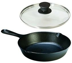 Lodge Seasoned Cast Iron Skillet with Tempered Glass Lid  Ca