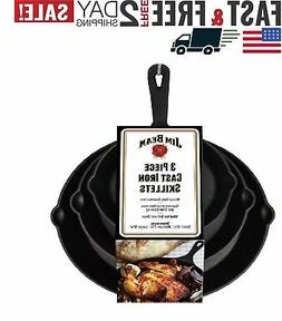 Jim Beam Set of 3 Pre Seasoned Cast Iron Skillets with Even