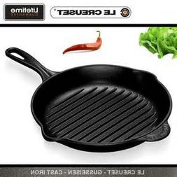 """Le Creuset Skillet Grill. Bright Black, 10"""". round with Help"""