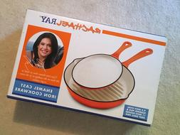 "Rachael Ray Skillet Pan Orange/White Enamel Cast Iron 9.5"" O"