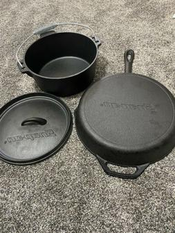 SNAP-ON CAST IRON DUTCH OVEN AND SKILLET. NEW