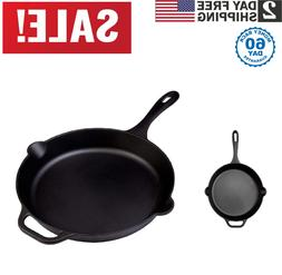 "Victoria Cast Iron 12"" Skillet Fry Pan with Long Handle, Sea"