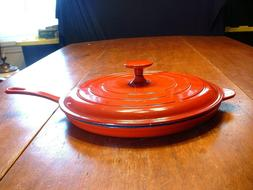 "Vintage Technique Red Cast Iron 12 1/8"" Skillet with Cover #"