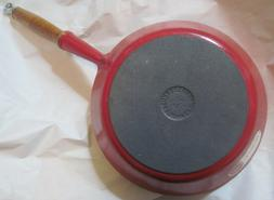 Vtg LE CREUSET Red Enamel #24 Cast Iron NOS Wood Handle Skil