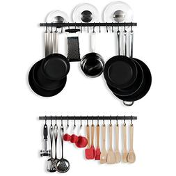 Wallniture Kitchen Rail Organizer Iron Hanging Utensils Rack